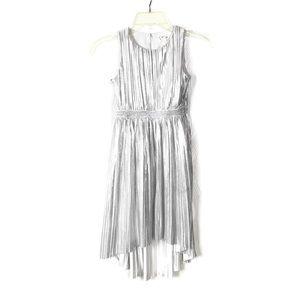 Car & Jack Hi Low Hem Dress Metallic Silver Girls